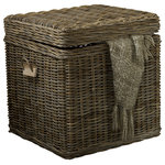 Padma's Plantation - Kubu End Table Trunk - Great for storage in any room, or just as decoration, these practical chests feature a hardy timber frame, so you can even sit on them. These coastal inspired chests are made out of our natural kubu weave, which is a soft gray color achieved naturally by soaking the rattan in local clay and sun-drying it before weaving.