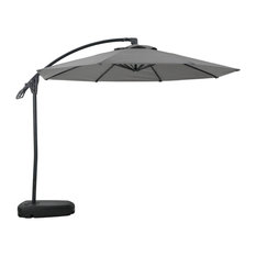 Sahara Outdoor Water Resistant Canopy With Plastic Base Aluminum Pole, Gray