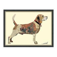 Beagle Dimensional Handmade Collage Wall Art Framed Under Glass