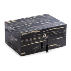 "Bey-Berk Lacquered ""Ebony"" Wood 100 Cigar Humidor, ""Default Title"""