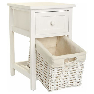 Bedside Table, White Finished MDF With Wicker Storage Basket and Drawer