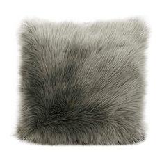"""Mina Victory Fur Remen Faux Fur Pillow, Silver/Gray, 22""""x22"""""""