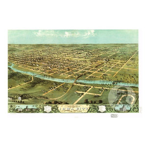 24x36 Vintage Reproduction Historic Map Davenport Iowa Scott County 1888
