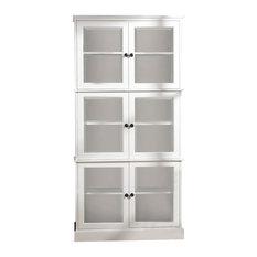 6 Door Display Cabinet - Pantry in White