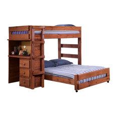 Henderson Full over Full Student Loft Bed, Mahogany, Full Over Full
