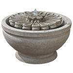 Campania - Fleur Garden Water Fountain, Greystone - This fountain is elegent and available in many different patinas. The Fleur Garden Fountain is a great way to add some style to that dull outdoor living space. Water flows from the center of the flower focal point and into the basin below. This fountain can be plugged into any standard outlet and is equipped with a recirculating electric water pump.