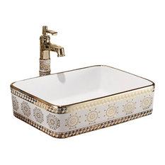 Prato Mosaic Gold Rectangular Bathroom Sink With Drain