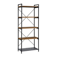 Sauder Iron City 5 Shelf Tall Bookcase in Checked Oak and Black
