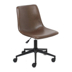 Btexpert   BTExpert Yafa Mid Back Fuax Leather Task Chair, Brown Office  Chair   Office