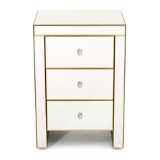 GDF Studio Langley Mirrored 3 Drawer Side Table