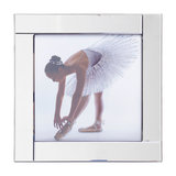 Square Mirror Picture Frame With Glittered Ballerina Illustration