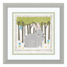 """Framed Art Print 'Woodland Hideaway Bunny' by Moira Hershey, Outer Size 14""""x14"""""""