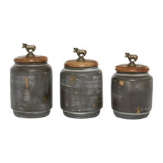 Set of 3 Multi Colored Terracotta Country Cottage Decorative Jar