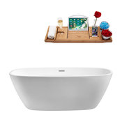 "59"" Streamline N-700-59FSWH-FM Soaking Freestanding Tub With Internal Drain"