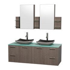 "Amare Gray Oak Double Vanity, Medicine Cabinets, 60"", Altair Black Granite"