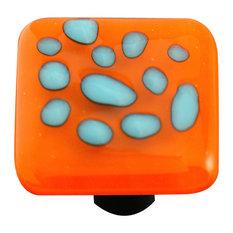 Square Glass Art Knob, Reactive Clear Opal Orange