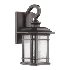 """CHLOE Franklin Transitional 1 Light Rubbed Bronze Outdoor Wall Sconce 17"""" Height"""