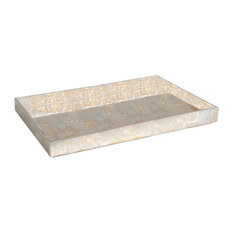 """Luxe Champagne Silver Lacquer Serving Bar Tray, 28"""" Decorative Metallic Wood"""