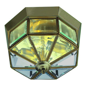 Flush Traditional Antique Brass Ceiling Light With Clear Glass