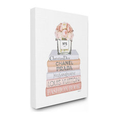 Delicate Pink Roses and Iconic Fashion Style Bookstack 16x20
