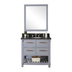 Single Sink Bathroom Vanity In Gray Finish With Limestone Top