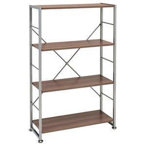 Display Storage Unit, MDF With Metal Frame and 3 Open Shelves, Dark Walnut