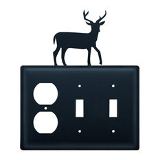 Wrought Iron DEER Single Electrical Outlet Covers New Black Country Wall Decor