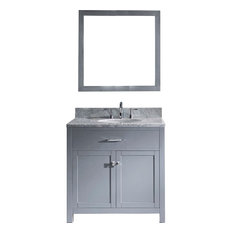 "Caroline 36"" Single Vanity Cabinet Set, Gray, White Round, Without Faucet"