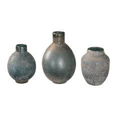 Mercede Weathered Blue-Green Vases, Set of 3