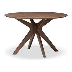 Mid-Century Modern Walnut Wood 47-Inch Round Dining Table