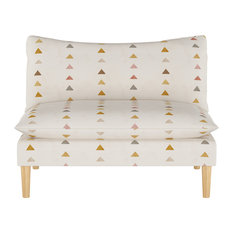 Armless Love Seat with Natural Legs, Peak Mustard Multi