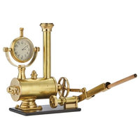 Vintage Style Steam Engine Clock Desk Set, Pencil Holder Gold Accessory Train