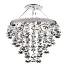 "Icicle 24"" Tall 7-Light Modern Round Mini Chandelier, Chrome"