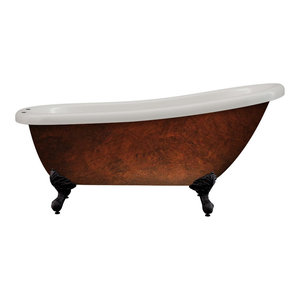 """Acrylic 61"""" Slipper Clawfoot Tub Faux Copper Finish, 7"""" Faucet Holes"""