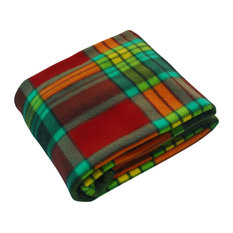 Trendy Plaids - Red/Green Soft Coral Fleece Throw Blanket (71 by 79 inches)