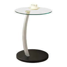 Monarch Specialties I 3009 17 Inch Diameter Tempered Glass Top MDF End Table