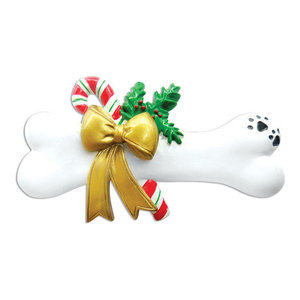 Personalizable Pets Ornament, Dog Bone With Holly