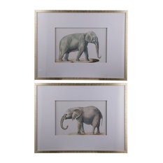 "Elephant Wall Art Pencil Drawings 24""x32"", 2-Piece Set"