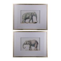 "Elephant Wall Art Pencil Drawings 24""x32"", 2-Piece Set"