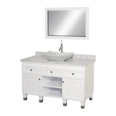 "Premiere 48"" White Single Vanity, White Carrera Marble Top, 24"" Mirror"