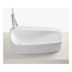 """24"""" Serous Above Counter Ceramic Vessel Sink With Faucet Hole, White"""