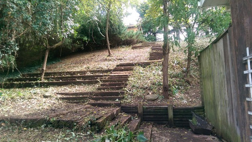 Need Ideas For My Crumbling Sloped Railroad Tie Stairs