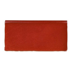 """3""""x6"""" Antiguo Special Ceramic Bullnose Wall Trim Tile, Red Moon, Set of 6"""