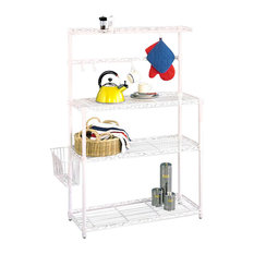 Bakers Rack, White With Basket