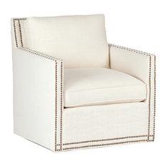 Gabby Carter Track Arm Swivel Chair, Gray Zulu Feather