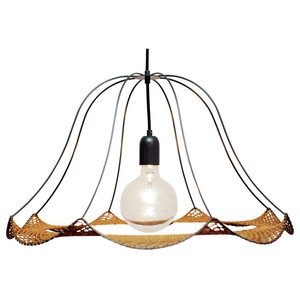 Christine Hechinger Crochet Hanging Lamp, Black and Gold