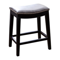 Abbyson Living Rivoli Leather Nailhead Trim Counter Stool, Gray