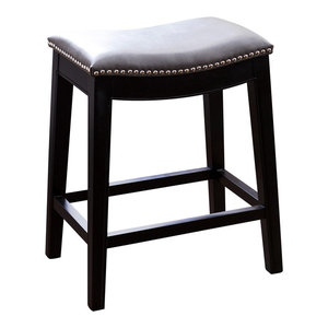 "Abbyson Living Jensyn 25"" Leather Counter Stool, Gray"