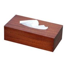 Tissue Box Cover in Antique Mahogany Wood, Junior Rectangular Size