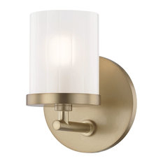 Ryan 1-Light Bath Light, Aged Brass Finish, Clear Frosted Glass Shade